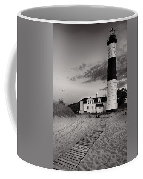 Lighthouse Coffee Mug featuring the photograph Big Sable Point Lighthouse In Black And White by Sebastian Musial