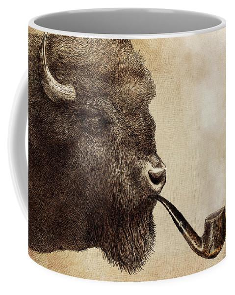 Buffalo Coffee Mug featuring the drawing Big Smoke by Eric Fan