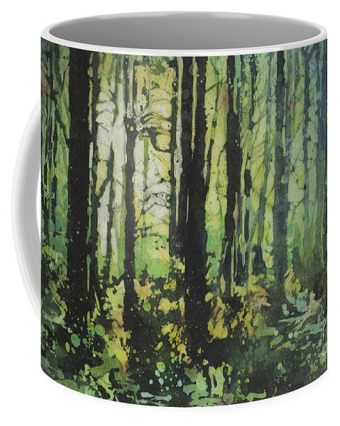 Batik Coffee Mug featuring the painting Bigfoot Sighting by Ryan Fox