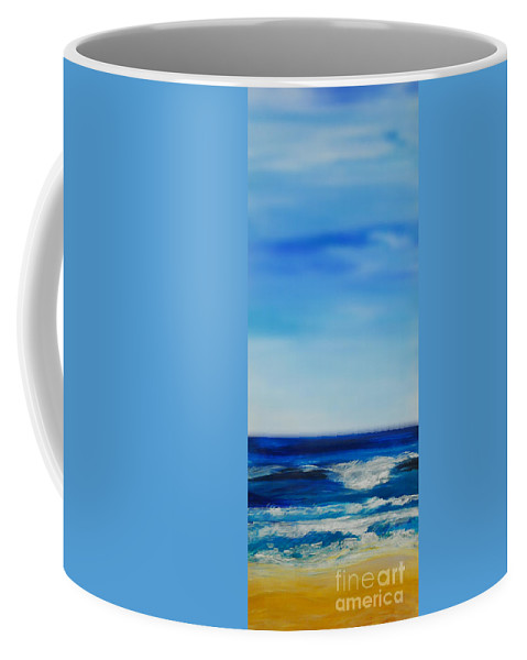 Ocean Coffee Mug featuring the painting bigSky Beach by Shelley Myers