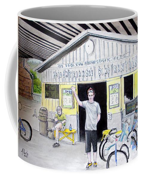 Bike Coffee Mug featuring the drawing Bike Pittsburgh by Albert Puskaric