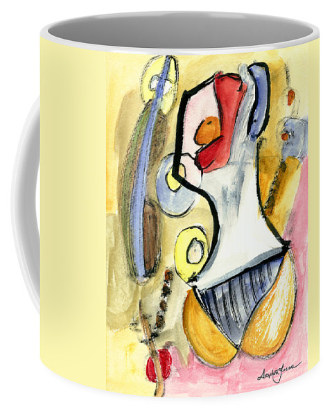 Abstract Art Coffee Mug featuring the painting Bikini Beach by Stephen Lucas