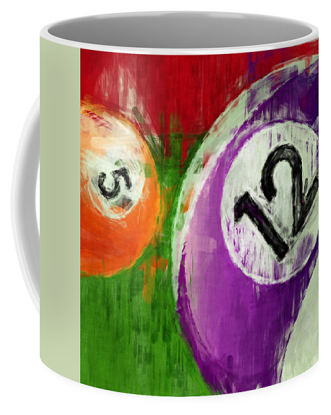 Twelve Coffee Mug featuring the digital art Billiards Abstract 5 12 by David G Paul