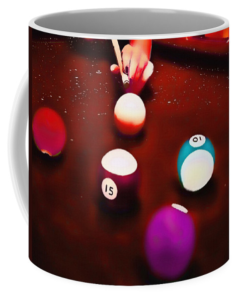 Billiards Coffee Mug featuring the mixed media Billiards Art - Your Break Red by Lesa Fine