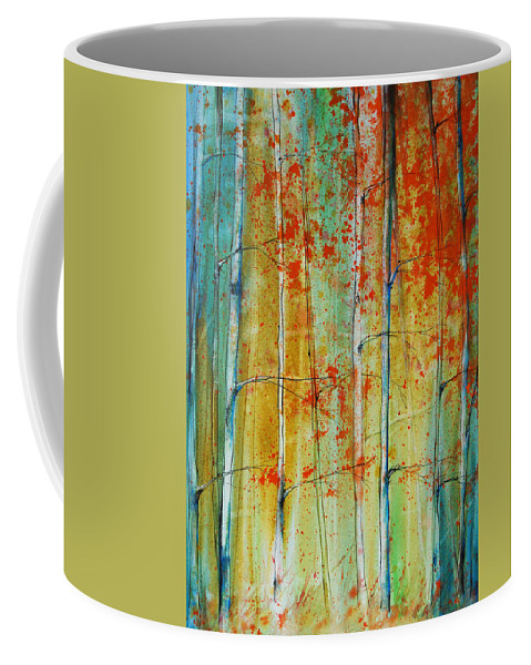 Birch Trees Coffee Mug featuring the painting Birch Tree Forest by Jani Freimann