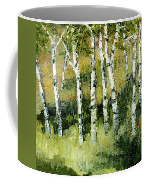 Trees Coffee Mug featuring the painting Birches On A Hill by Michelle Calkins