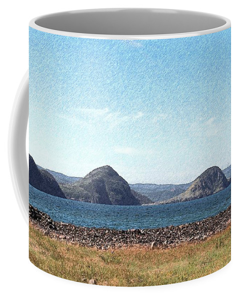 Bird Blind On The Beach Sketch Coffee Mug featuring the photograph Bird Blind On The Beach Sketch by Barbara Griffin