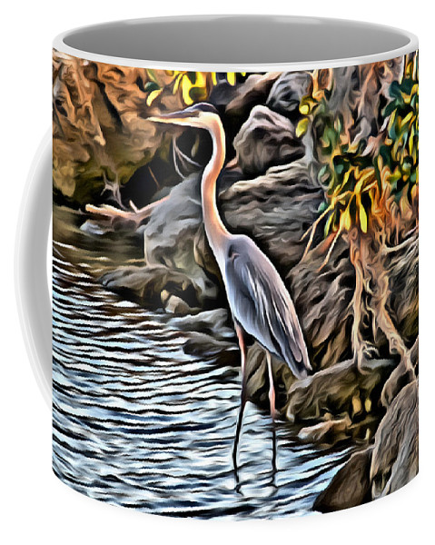 Egret Bird Water Florida Scenic Coffee Mug featuring the photograph Bird By The Water by Alice Gipson