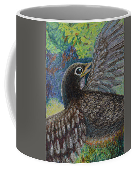 Bird Black Flight Animal Animals Feather Feathers Wing Wings Beak Flying Green Blue Crow Raven Coffee Mug featuring the painting Bird In Flight by Nancy Mauerman