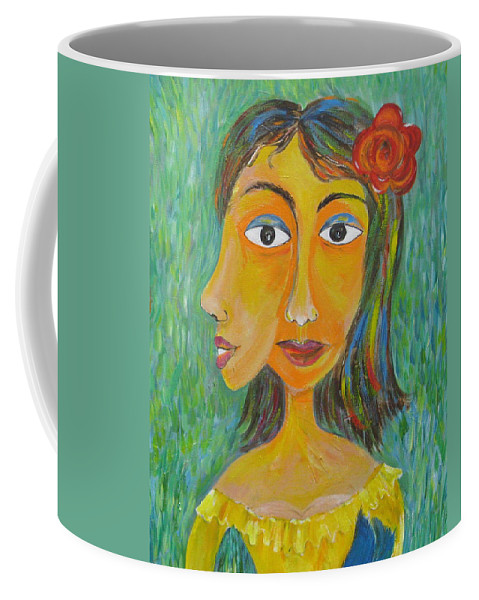 Surreal Coffee Mug featuring the painting Bird In The Hand  Detail by Sue Wright