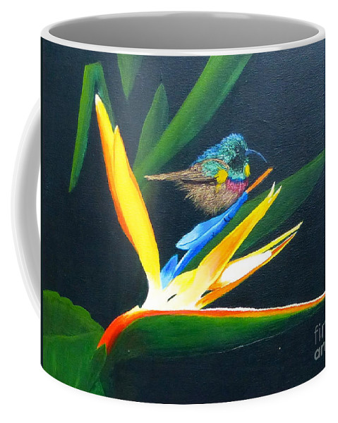 Bird Of Paradise Coffee Mug featuring the painting Bird Of Paradise by Alicia Fowler