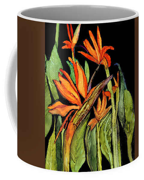 Floral Coffee Mug featuring the painting Bird Of Paradise by Elaine Hodges