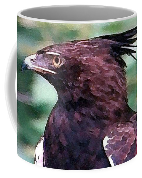 Eagle Coffee Mug featuring the painting Bird Of Prey In Watercolor by George Pedro