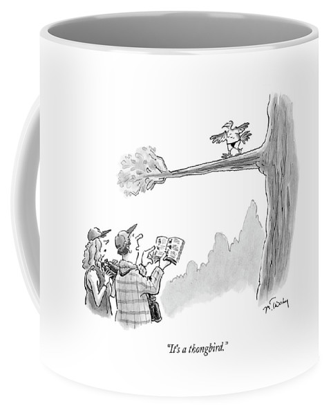 Bird Coffee Mug featuring the drawing Bird Watchers Spot A Bird Wearing A Thong by Mike Twohy