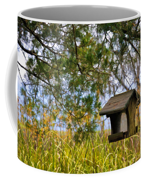 Hanging Birdhouse Coffee Mug featuring the photograph Where The Wild Birds Eat by Ginger Wakem