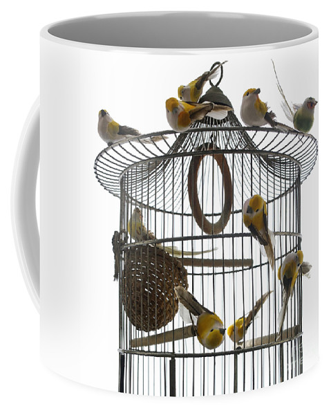 Freedom Coffee Mug featuring the photograph Birds Inside And Outside A Cage by Bernard Jaubert