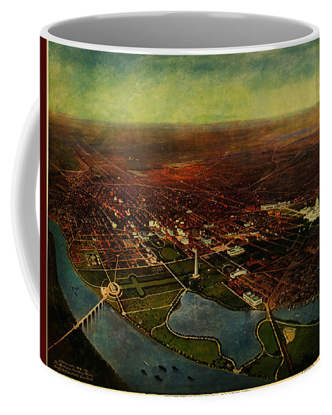 Green�s Birdseye View Of Washington D.c. (1916) Coffee Mug featuring the painting Birdseye View Of Washington 1916 by Celestial Images