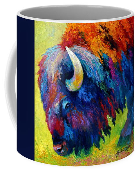Wildlife Coffee Mug featuring the painting Bison Portrait II by Marion Rose