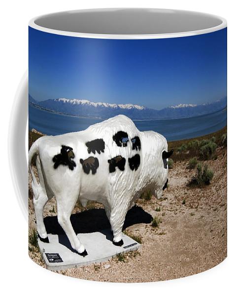 Great Salt Lake Coffee Mug featuring the photograph Bison Sculpture Great Salt Lake Utah by Bob Pardue