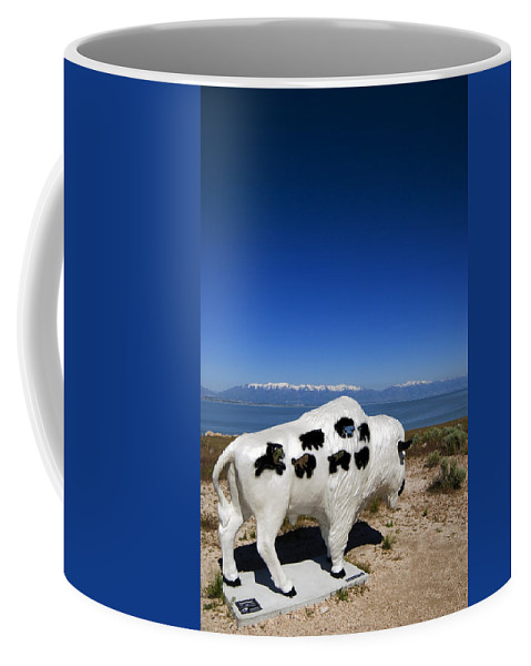 Bison Coffee Mug featuring the photograph Bison Sculpture Salt Lake Utah by Bob Pardue