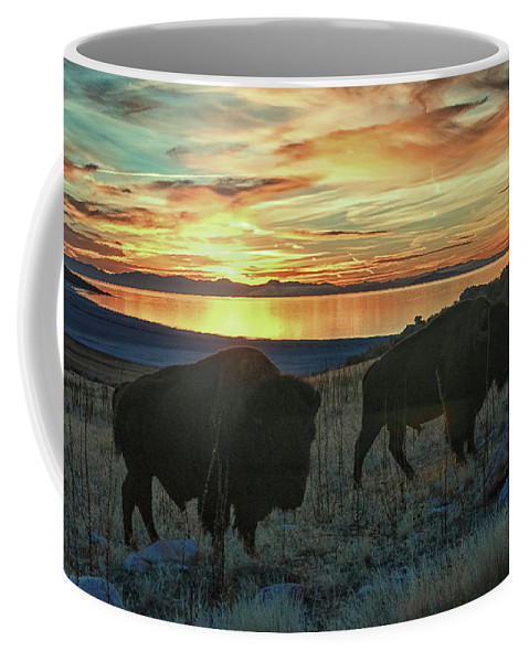 Bison Coffee Mug featuring the photograph Bison Sunset by Bruce J Barker