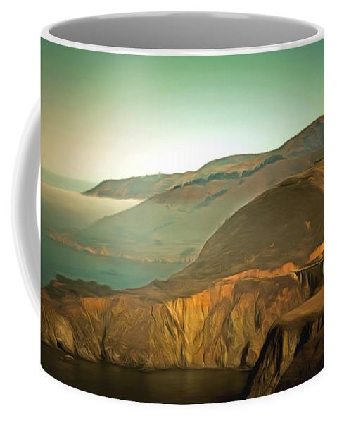 Highway One Bixby Bridge Close Coffee Mug featuring the painting Bixby Bridge Digital by Barbara Snyder