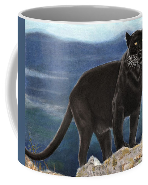 Cat Coffee Mug featuring the drawing Black And Blue by Christian Conner
