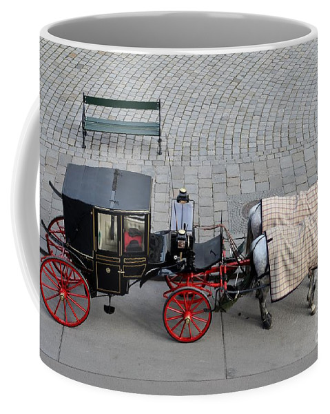 Carriage Coffee Mug featuring the photograph Black And Red Horse Carriage - Vienna Austria by Imran Ahmed