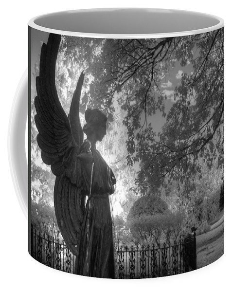 Angel Coffee Mug featuring the photograph Black And White Angel by Jane Linders