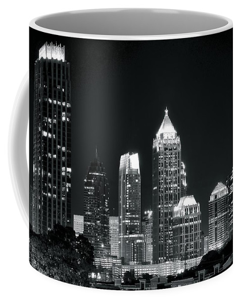 Atlanta Coffee Mug featuring the photograph Black And White Night In Atlanta by Frozen in Time Fine Art Photography