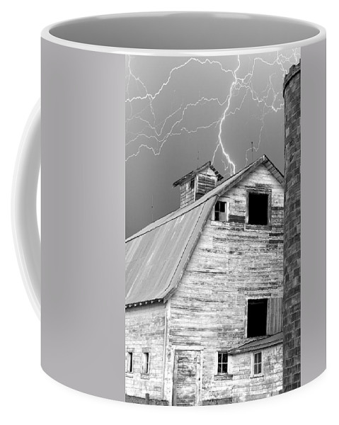 Lightning Coffee Mug featuring the photograph Black And White Old Barn Lightning Strikes by James BO Insogna