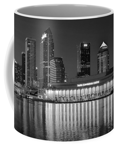 Tampa Coffee Mug featuring the photograph Black And White Tampa Night by Frozen in Time Fine Art Photography