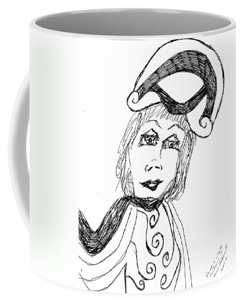 Lady Wearing A Black And White Outfit Coffee Mug featuring the drawing Black And White Two by Elinor Helen Rakowski