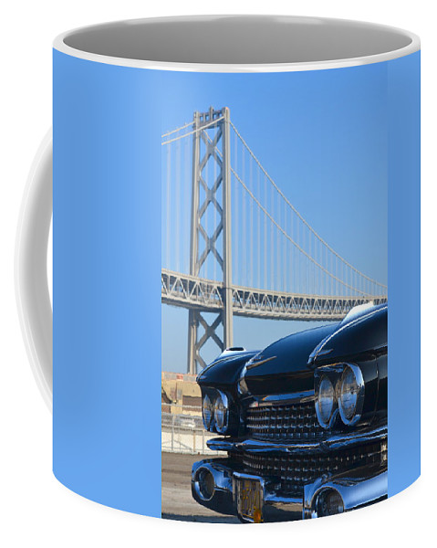 Coffee Mug featuring the photograph Black Cadillac In San Francisco by Dean Ferreira