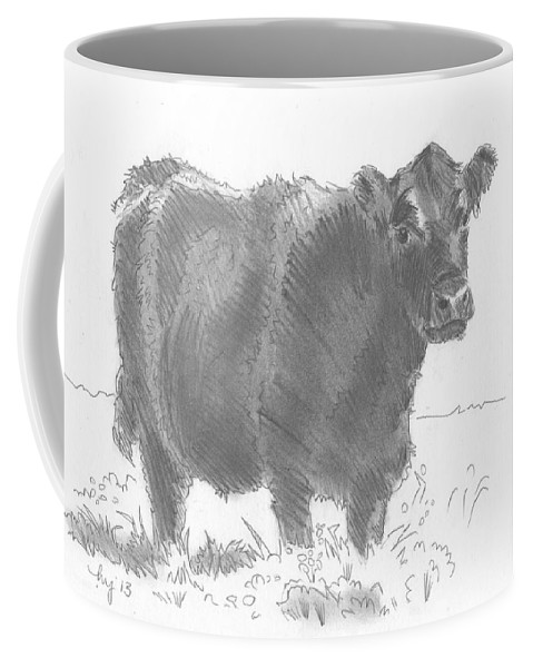 Cow Coffee Mug featuring the drawing Black Cow Pencil Sketch by Mike Jory