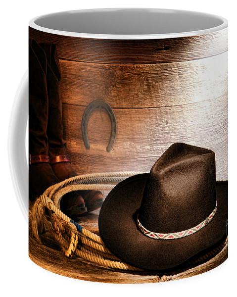 Cowboy Coffee Mug featuring the photograph Black Felt Cowboy Hat by Olivier Le Queinec