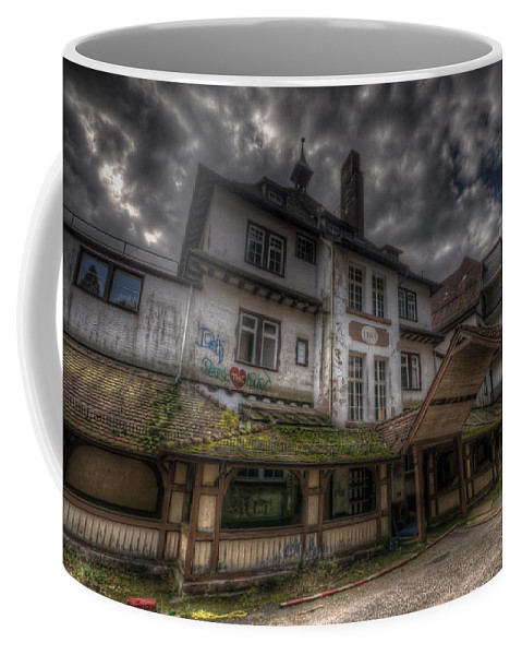 Urbex Coffee Mug featuring the digital art Black Forest Hospital by Nathan Wright