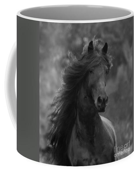 Horse Coffee Mug featuring the photograph Black Friesian Comes Close by Carol Walker