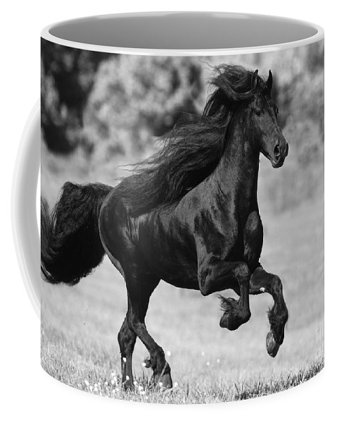 Horse Coffee Mug featuring the photograph Black Friesian Gallops by Carol Walker