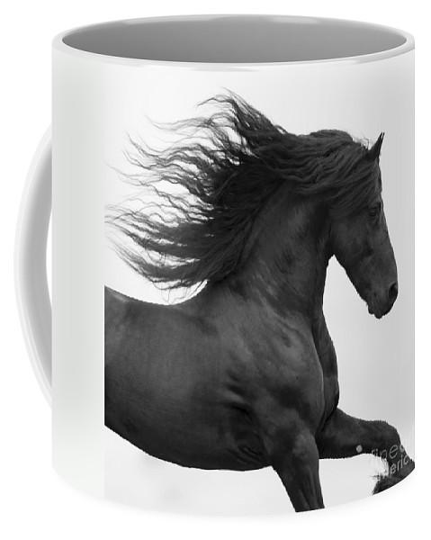 Horse Coffee Mug featuring the photograph Black Friesian Runs by Carol Walker