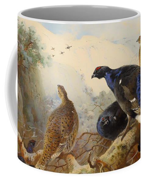Birds Coffee Mug featuring the painting Black Game by Mountain Dreams