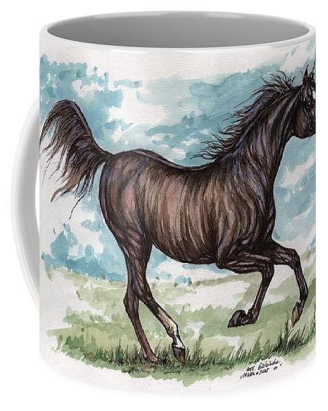 Psychodelic Coffee Mug featuring the painting Black Horse Running by Angel Ciesniarska