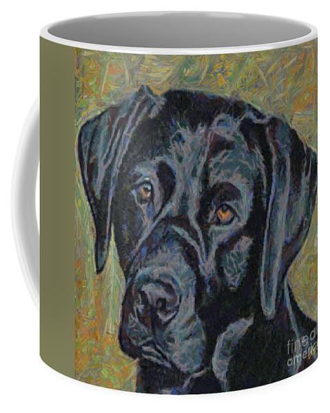 Dog Coffee Mug featuring the painting Black Labrador by Dragica Micki Fortuna