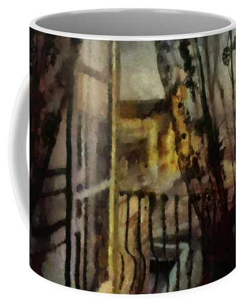 Lace Curtains Coffee Mug featuring the painting Black Lace In Argentina by Janice MacLellan