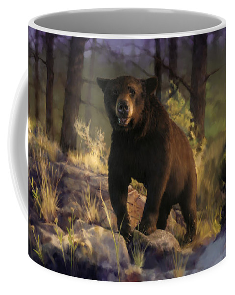 Bear Coffee Mug featuring the painting Black Max by Rob Corsetti