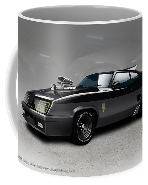 Mad Max Coffee Mug featuring the digital art Black on Black by Doug Schramm