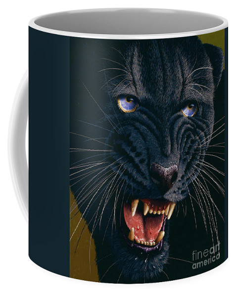 Black Panther Coffee Mug featuring the painting Black Panther 2 by Jurek Zamoyski