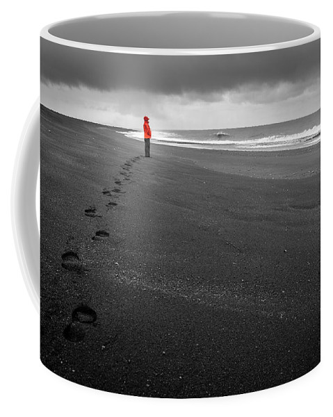Atlantic Coffee Mug featuring the photograph Black Sand by Alexey Stiop