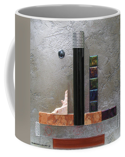 Assemblage Coffee Mug featuring the relief Black Tower by Elaine Booth-Kallweit