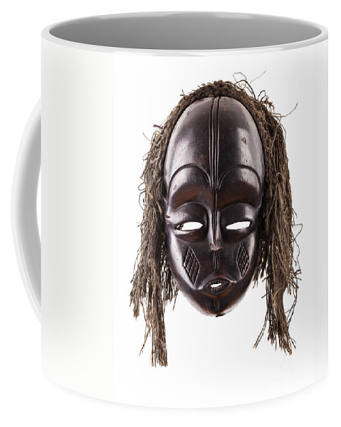 Wooden Coffee Mug featuring the photograph Black Tribal Face Mask On Isolated On White by Simon Bratt Photography LRPS